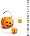 plastic jack-o-lantern on white 44148568
