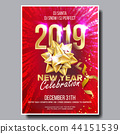 2019 Party Flyer Poster Vector. Happy New Year. Celebration Template. Winter Background. Design 44151539