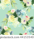 Seamless watercolor pattern with roses 44153540