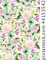 Seamless summer pattern with watercolor flowers 44153542