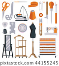 Flat tailor objects set. Collection for creating 44155245