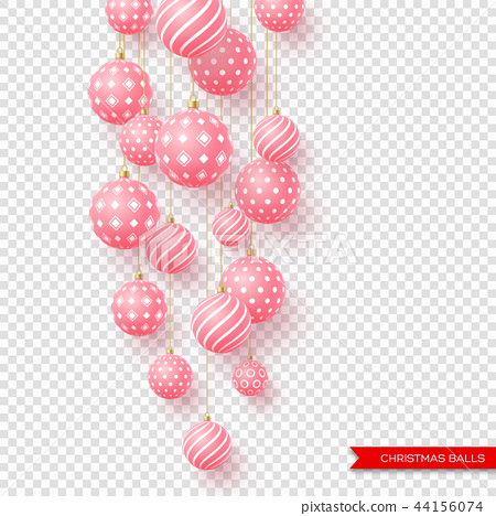 3d Christmas yellow balls with geometric pattern. Decorative elements for holiday new year design 44156074