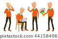 Old Man Poses Set Vector. Asian, Japanese, Vietnamese. Elderly People. Senior Person. Aged 44156406