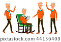 Old Man Poses Set Vector. Asian, Chinese, Japanese. Elderly People. Senior Person. Aged. Friendly 44156409