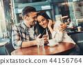 couple, phone, coffee 44156764