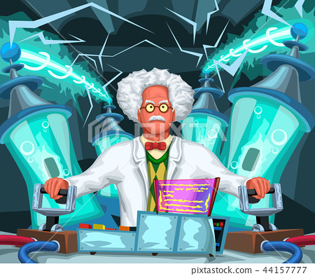 crazy scientist at work 44157777