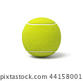 3d rendering of a single acid green tennis ball standing on a white background with a shadow. 44158001