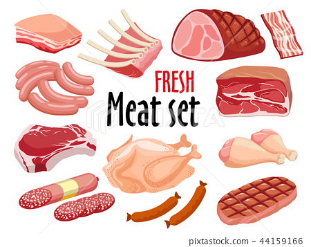 Meat set vector. Fresh meat icons set. 44159166