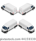 Commercial white van icons set isolated on a white 44159339