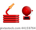 Emergency icon, red fire alarm system and fire hose 44159764
