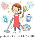 청소를하는 앞치마 차림의 여자 44159886