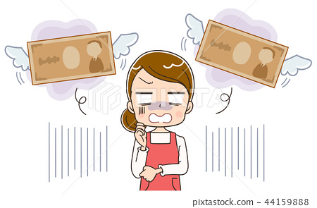 Illustration of a housewife who has lost money 44159888