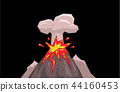 Volcano mountain exploding with cloud of smoke. Flat vector illustration. Isolated on black 44160453