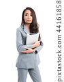 Business woman wore gray suit standing 44161858