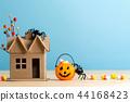 Halloween pumpkin with spider 44168423