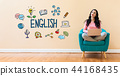 English with woman using a laptop 44168435