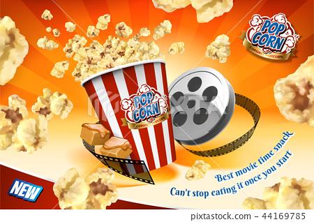 Caramel popcorn with film roll 44169785