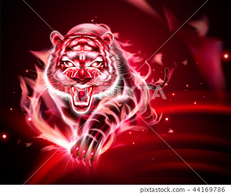 Tiger with red burning flame 44169786