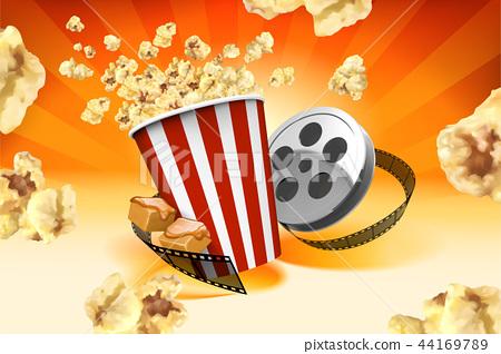 Caramel popcorn with film roll 44169789