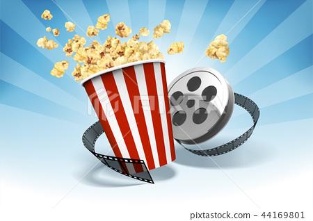 Caramel popcorn with film roll 44169801