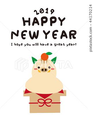 新年賀卡2019年神上麻吉糖果可愛的新年賀卡模板 44170214
