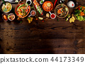 Various of asian meals on rustic background , top view , place for text. 44173349
