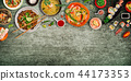 Various of asian meals on rustic background , top view , place for text. 44173353