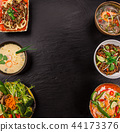 Various of asian meals on rustic background , top view , place for text. 44173376