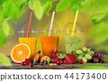 Fresh juice mix fruit, healthy drinks on wooden table. 44173400