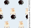 Sheep jumping over black sheep pattern 44173695