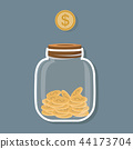 Saving flat coin in jar concept 44173704