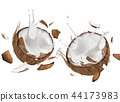 close-up of a coconuts with milk splash. 44173983