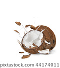 close-up of a coconuts with milk splash. 44174011