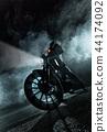High power motorcycle at night. 44174092