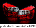Car tail lights that are separate from the backgro 44174099