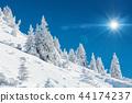 Winter mountains panorama with ski slopes. 44174237