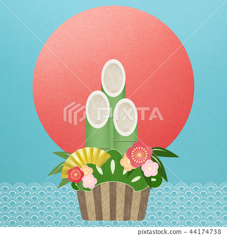 일본 - 일본식 - 일본식 디자인 - 종이 - 배경 - 소나무 장식 - 일출 - 새해 44174738