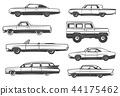 Vector retro cars and vintage rarity automobiles 44175462