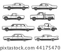 Vector line icons of retro cars and vintage auto 44175470