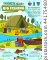 Fishing hobby poster with fisher camp at lake 44175480