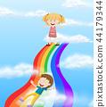 Children sliding down a rainbow 44179344