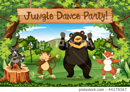 Animals jungle dance party 44179367