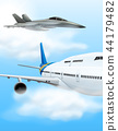 Commerical aircraft and fighter jet 44179482