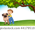 A boy and dog in nature 44179510