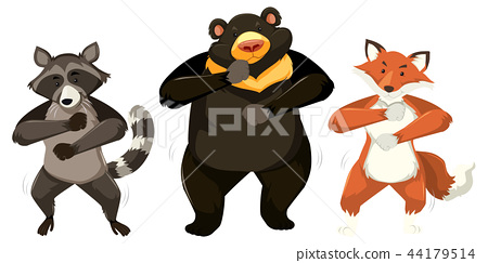 Animals dancing on white background 44179514