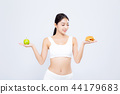 Beautiful asian woman slim shape with diet 44179683