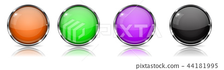 Colored glass 3d buttons with chrome frame. Round icons 44181995