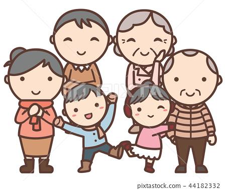 2戶父母和子女家庭(父母兒子女兒女兒叔叔) 44182332