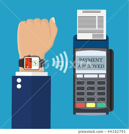 Smart watch POS terminal payment. 44182791