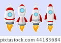 Cartoon rocket ship collection isolated on white b 44183684